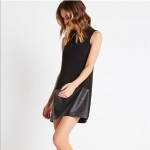 BCBGeneration Faux-Leather Black Dress Small NWOT